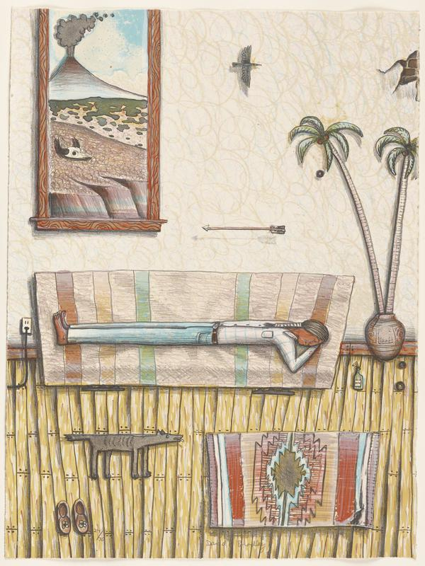 tans, yellows, blues, greens, browns, grey and black pigments; man with wrapped braid laying barefoot on rectangular bed with head turned and eyes closed; potted palm plant, slippers with flower pattern, bottle with drinking straw and large abstract rug on wooden floor; flying black bird, arrow and exposed brick on wall; window in ULC shows erupting volcano, horned bison (?) skull and jagged edges of rock visible; grey dog or coyote-like figure with extended tail and tongue next to bed