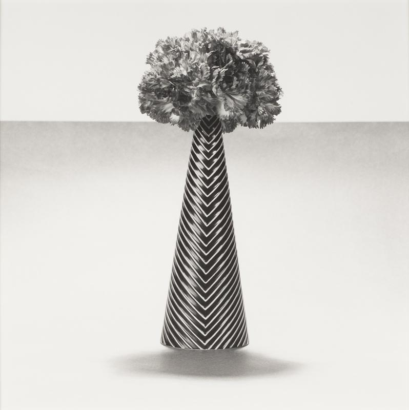 black and white; slender black cone-shaped vase with white downward-facing chevron pattern; oval dark grey shadow below vase; grey horizon line with downward gradient across image at same height as top of vase; gathered flowers (carnations) in bunch at top of vase facing many different directions; light grey/white band above horizon line