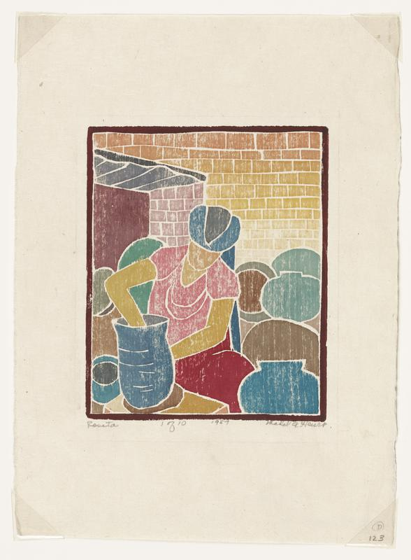 colorful woodblock print with image of figure molding a blue pot on a potter's wheel; figure wears a pink shirt, burgundy bottoms, and is surrounded by blue and brown pots; gold brick gradated background