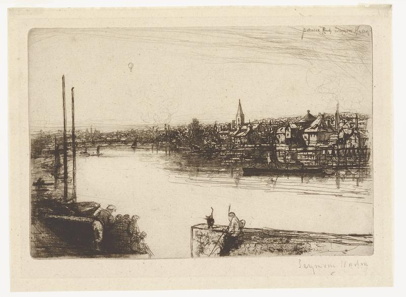 black ink on light tan paper; large winding river from LR corner to left of center of image; on right side of river, many buildings packed closely; church spire and building with conical roof on right side; on left side of river, boats with tall masts docked; city along horizontal center of image with bridge; in foreground, human figure and black cat at center and group of humans to left, leaning on walls; small boats on river; small hot air balloon in distance in upper left/center