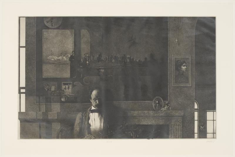a man seen from the waist up, presumably seated at a table, with his PL hand on a black cat and a few stems of daylilies; interior scene; a mantle behind the man with a large image or mirror above it; sense of space within image or mirror is confused, with imagery of ballerinas, a boy seated on a couch and a group of figures in an exterior scene