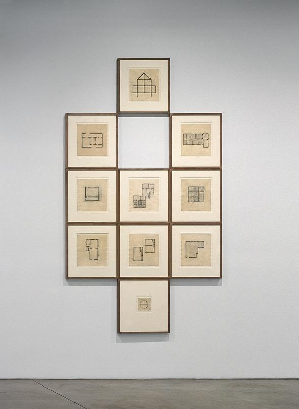 "ten framed etchings of floor plans with cities and dates, each rendered in black pigments on cream-colored paper with natural fibers embedded a. floor plan with a pointed roof made up of two connecting triangles; four connecting squares make up the base of the house, and join with the triangles; two smaller rectangles connected on right and left sides, and join with the bottom squares; two black line extend off of the bottom of the house b. rectangular floor plan, with an opening at the top left and bottom right; two closed off square sections on the right inside the rectangle, each with openings on the top and bottom edges; larger 'open' area on the left, with a 'hallway' running horizontally on bottom right inside the rectangle; faint gray shading around floorplan c. rectangular floor plan shaded in gray pigment; circular shape/ room in URC of rectangle; small rectangle extending off of the bottom right corner of rectangle; rooms divided into smaller rectangular sections on top and bottom of inner side of rectangle d. square shape in center with thicker black lines; thin line making a rectangle shape at inner bottom of square; square is approximately 6"" x 6"" in size e. two shaded square floorplans, one is located in URQ and another is located in LLQ; top right square has divisions of smaller rooms, with a 'staircase' extending off the bottom outer edge; lower left square also has smaller rooms divided within, and a 'staircase' in center of square f. square floorplan that is 6-1/2"" x 6-3/4"" in size; three horizontal rectangles on the left side inside the square; longer, vertical rectangle on right, inside the square, with a small square in URC inside the outer square; linear gray shading inside larger square g. rectangular floorplan positioned vertically, with two larger rooms divided on the top and bottom; two smaller rooms extending off the upper left side of rectangle h. two rectangular floor plans placed vertically, staggered and perpendicular to each other; top right floor plan has smaller room at t"