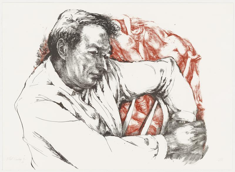 a man in black and white looking toward the viewer's right with his PL arm over the back of a chair; red sketches of nude figures packed together form the background