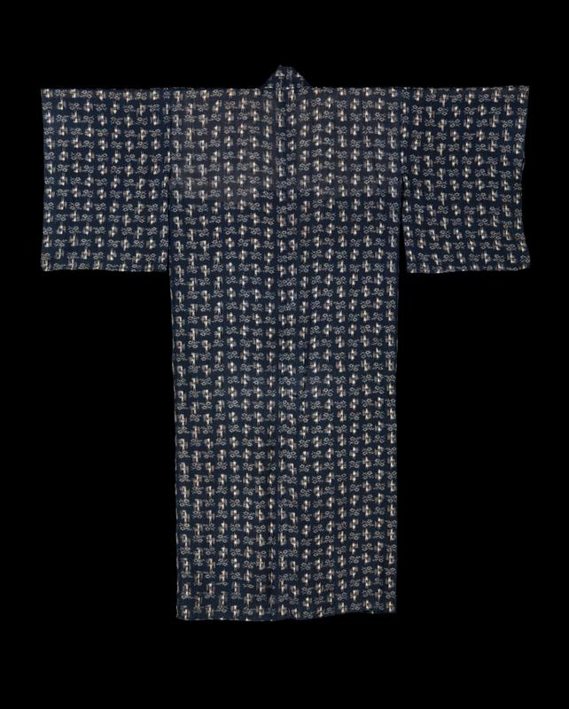 dark blue (nearly black) robe with white pattern throughout; white lining along interior upper back