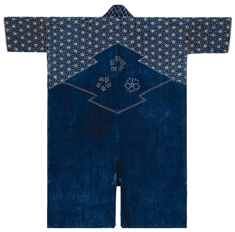 navy blue base with darker blue collar; off white starburst embroidery covering sleeves and shoulders, with three distinct flowers on back
