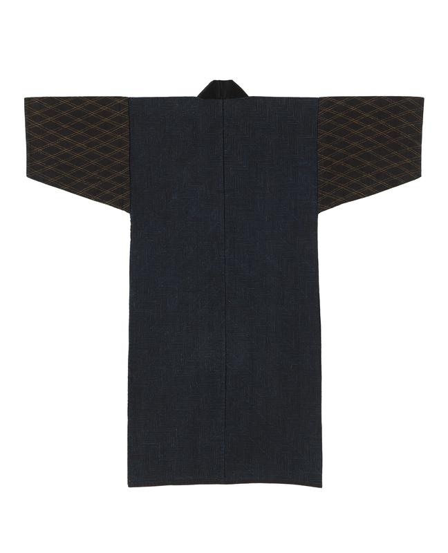 navy blue robe with black sleeves; body has blue stepped embroidery throughout, and sleeves have yellow diamond embroidery throughout; black solid collar; light blue interior lining