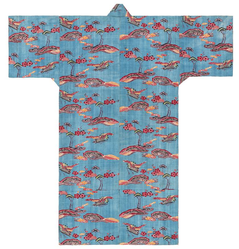 blue robe with red, orange, green, and black pattern; repeating pattern of 2 multicolored cranes in flight, over flowers and trees