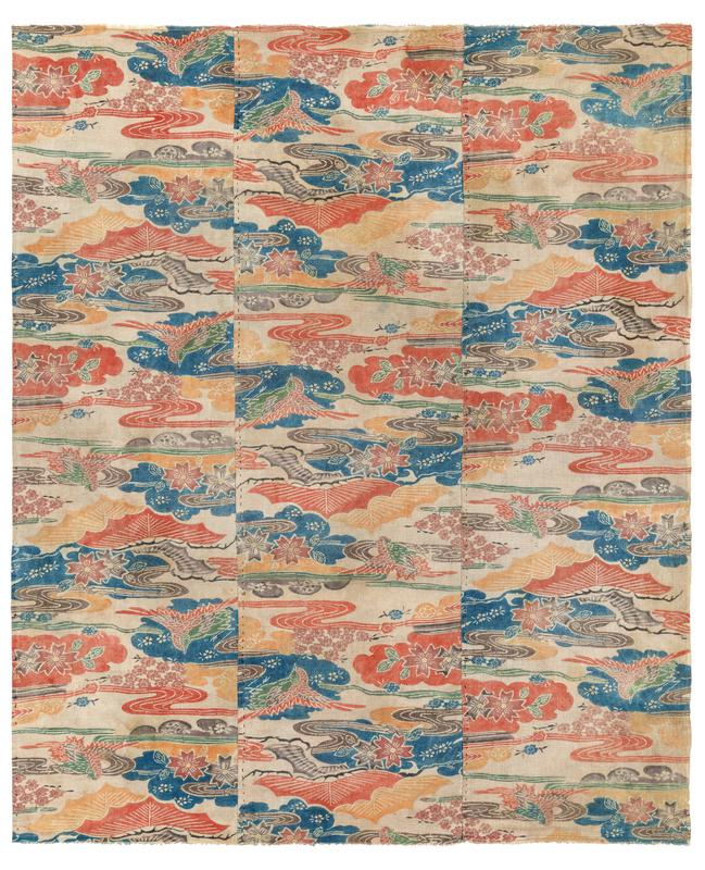 three vertical patterned panels sewn together; red and green birds, blue water, and red, orange, green, and brown flowers