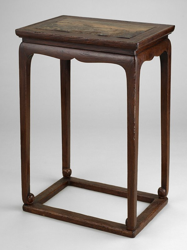 small table with stone inlay top; 4 straight corner legs, turned slightly inward at bottom; runners connect 4 feet in rectangular shape