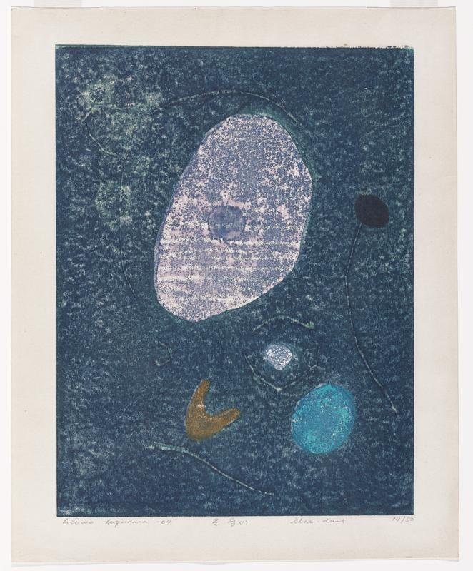 "print with a mostly blue background with abstract shapes; large pink oblong circle in top center; gold-colored half-moon shape in bottom center; aqua circle in LRC of image; black circle with curving ""stem"" at upper right edge of image; scattered linear shapes"