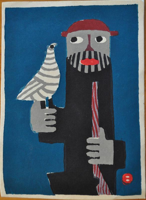 stylized figure with black lined beard, gray colored skin wearing a red hat, holding gray and white striped bird in PR hand, and lavender stick with red stripes in PL hand; dark teal background