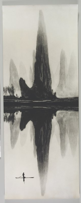 standing figure wearing a hat, rowing a boat LLC; tall, dark, curvaceous land form at center, reflected in water, with lighter land forms at L and R; dark trees at L; Li River, People's Republic of China