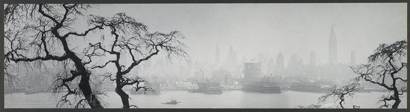 New York skyline seen over water, through fog; bare trees at L and R edges; docked boats on shore