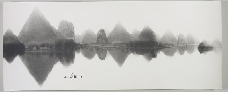 standing figure rowing a boat near LLC; rounded and pointed land forms on bank, reflected in very calm water; Li River, Peoples Republic of China