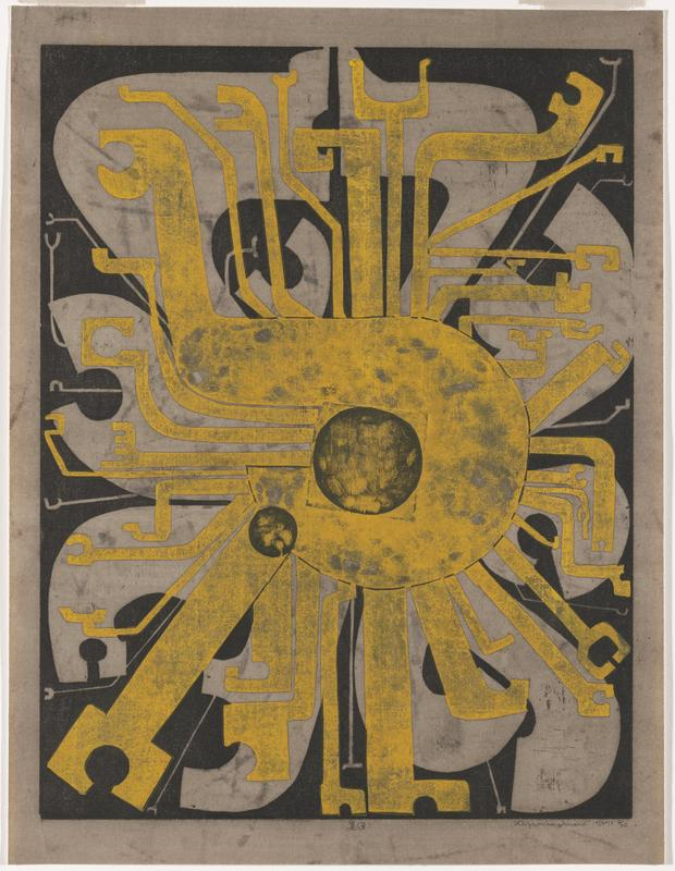 abstract image; yellow form with geometric rays; grey paper