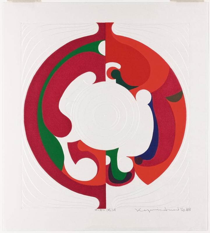 abstract; circle made of various forms in predominately red