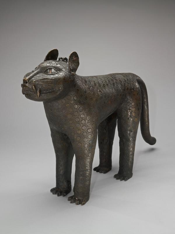 Leopard Aquamanile, Bronze, Benin Culture, Africa, XVIIc; covered with incised spots and smnall punch marks. Rare example.