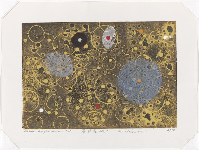 abstract image in mostly yellow, black and periwinkle pigments; gradated black and gray pigments against a yellow background; circular shapes throughout in various sizes; blue circle in ULQ in right; red dot against a white oval in top right; red dot at bottom center