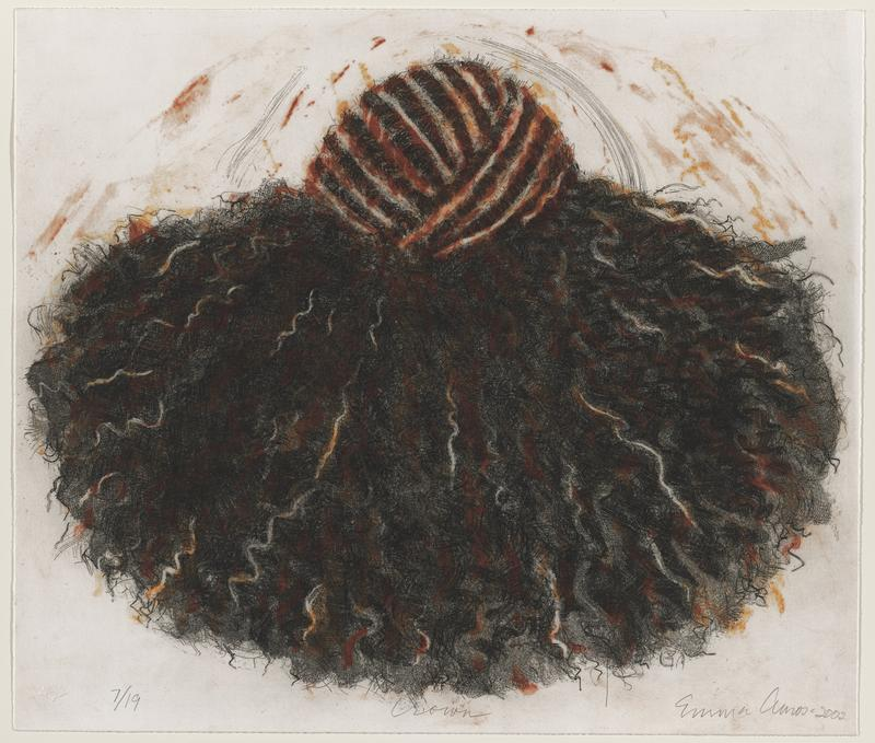 image of back of a person's head with overlapping cornrows on top, giving way to natural, curly black hair, accented with brown and orange; arch of thin black lines over top of head, with orange and brown color around head as well