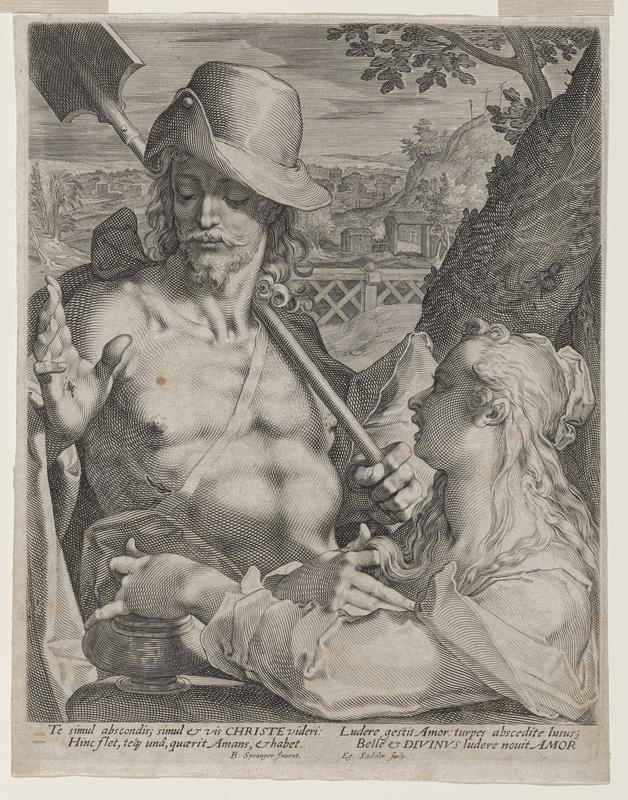 shirtless Jesus at L with curled mustache and beard, shovel resting over PL shoulder; stigmata visible in raised PR hand and on torso; woman in LR corner, facing Jesus with R hand in hair and L hand resting at LL; buildings and hills visible in background beyond fence; Latin text printed at bottom