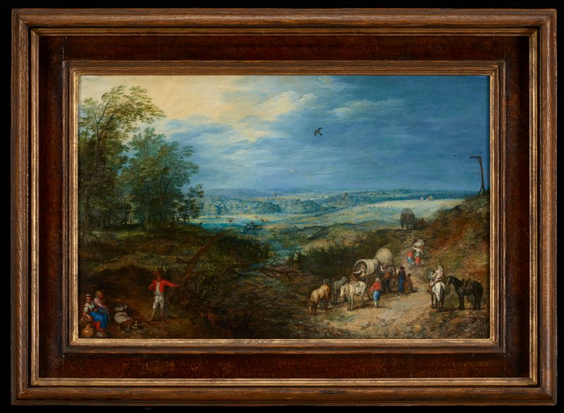 Landscape panorama with figures.