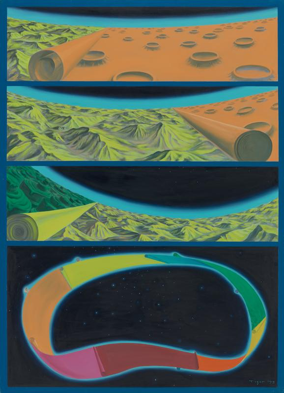 four intergalatic scenes with blue borders; the bottom/largest section has a multicolored mobius strip in outer space, with each color segment rolling back to revel the next; the top three sections are different views of these color segments: (top) orange crater-laden terrain starting to revel yellow-green mountainous terrain on the L; (second) more yellow-green terrain with less orange on the R; (third) yellow-green terrain rolling back to revel emerald green stacked cylinders on the L