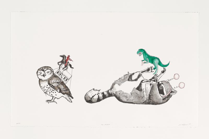 Lithograph printed in black from one plate depicting a raccoon on its back and an owl. Handcolored by the artist using gouache, watercolor, and colored pencil.