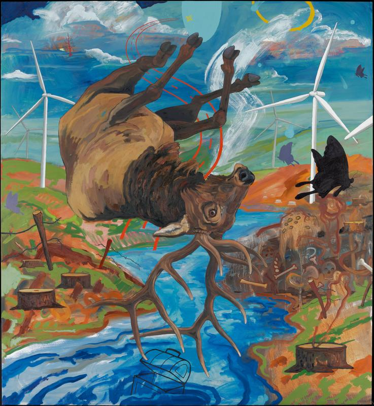 upside down buck floating over landscape with river at center; white, wind turbines in green hills visible on either side of the buck in background, while broken barbed wire fences and tree stumps flank the animal in the mid and foreground; in RCQ, a patch of brown ground is littered with skulls and bones; black and purple butterfly silhouettes are scattered throughout (one on L and three on R), as are blue and yellow shapes in URQ, a red tree is in the ULQ, and the outline of a round-top chest in the river at BC; behind the buck is the outline of a curving road in red, coming from a four point star at TC