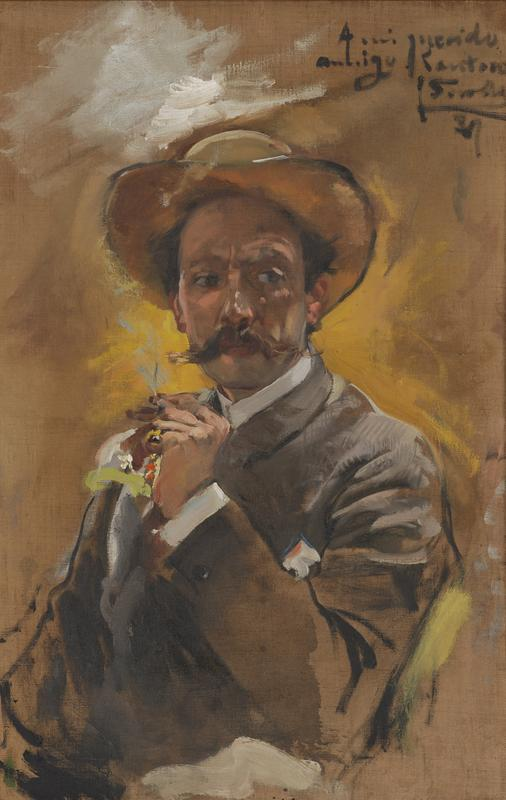 sketchy 3/4 length portrait of a man wearing a grey jacket and a tan hat with a brown handlebar moustache, looking toward his left; man holds a cigarette in his PL hand on which he wears a pinky ring; man wears a boutonniere on his PR lapel; received in medium toned wood frame