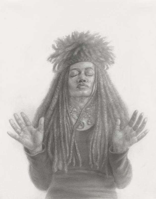 black-and-white 3/4 length portrait of a woman with long dreadlocks or braids, with shorter braids/dreadlocks on the top of her head, with her eyes closed and hands raised with palms facing out; woman wears a headband, beaded necklace with two large gems and two small skulls, and a dark long-sleeved shirt