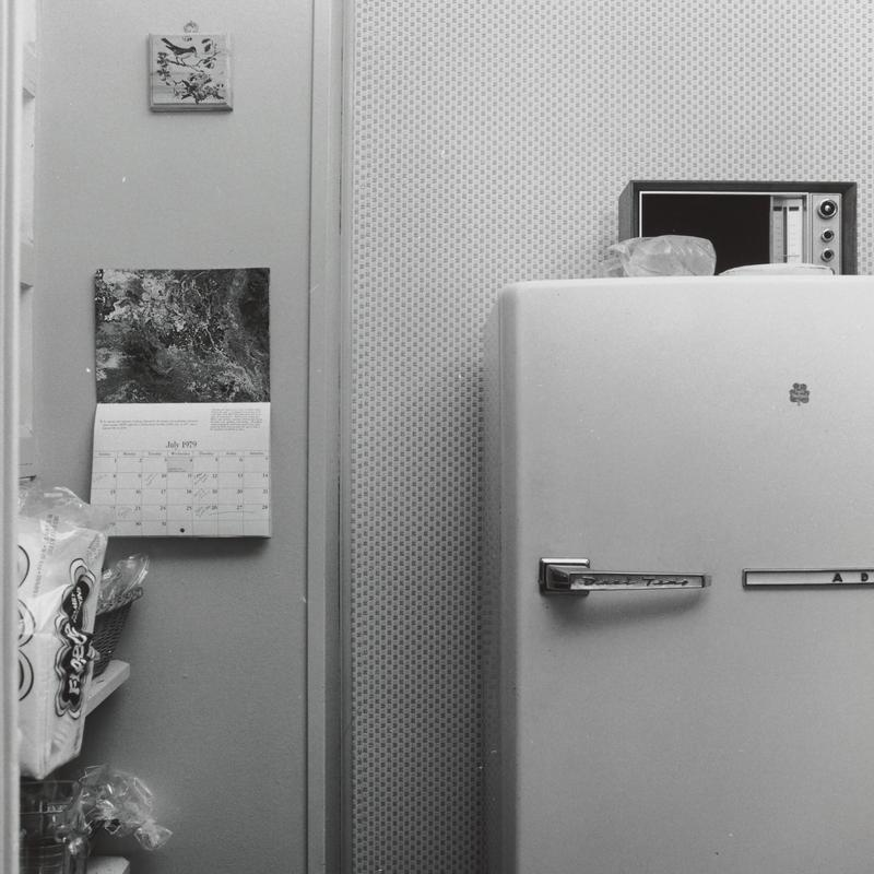 black and white image of a refrigerator with a radio on top of it at right; small plaque with bird on wall in ULQ with a calendar hanging below it, turned to July 1979