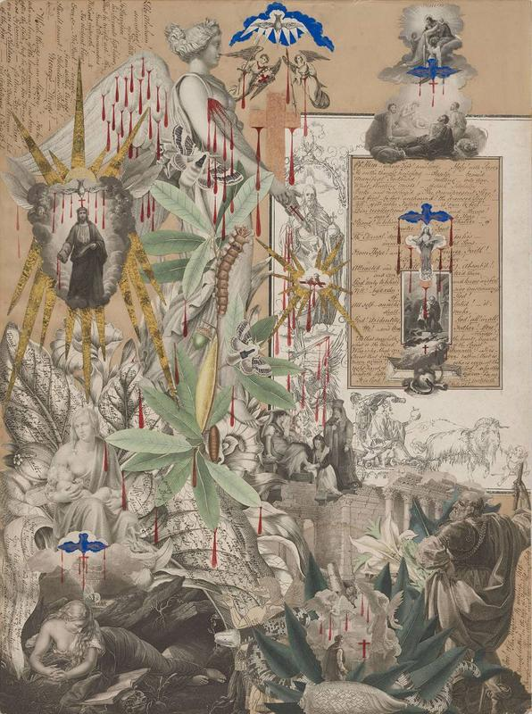 paper collage with red blood drips and blue and gold birds; mostly black and white engravings with colored plants, foliage, and insects at left center and LRQ; imagery includes reclining reading woman with skull in LLC with blue and gold bird with blood drips above her and a butterfly on her head, crowned figure reading in a chariot pulled by a goat with a putto at LRQ, two armed angels with bird above them at top center, text written vertically in ULC, and Jesus in clouds with gold rays in ULQ; received in a medium toned wood frame
