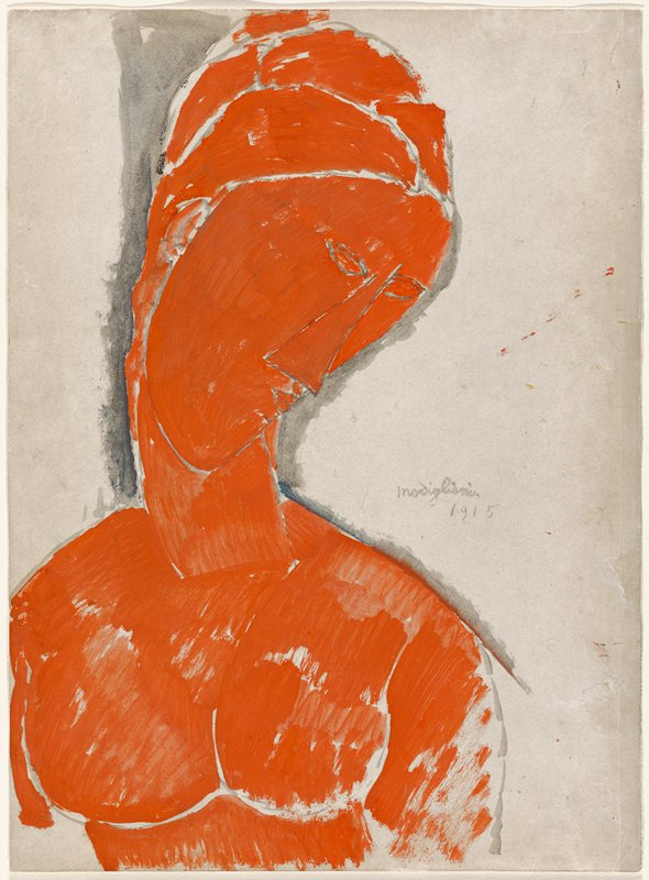 head and upper torso of nude woman who looks down to PL in red