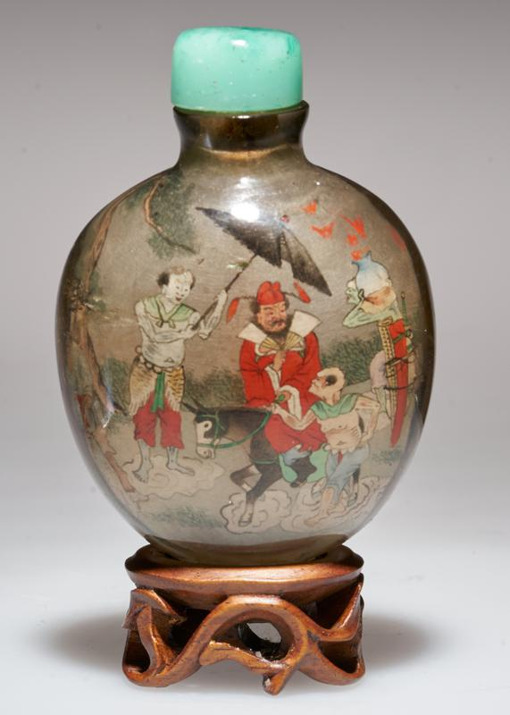 Snuff bottle. Smokey crystal. Green Jade top. Hand painted with many figures. Signed and sealed.