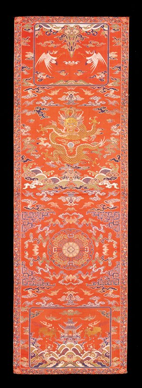 brocaded panel; deep rose background with cloud, dragon and pheasant motif.