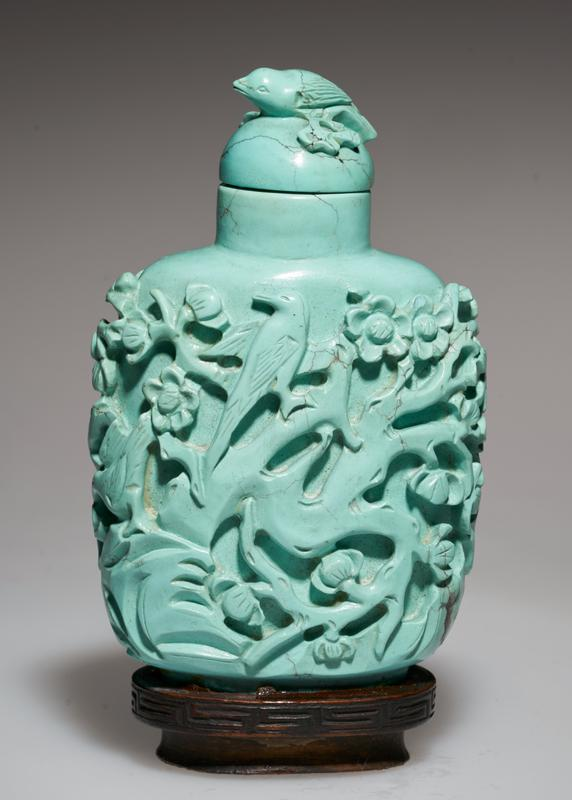 Snuff bottle. Turquoise. Turquoise top. Carved birds and plum blossoms.