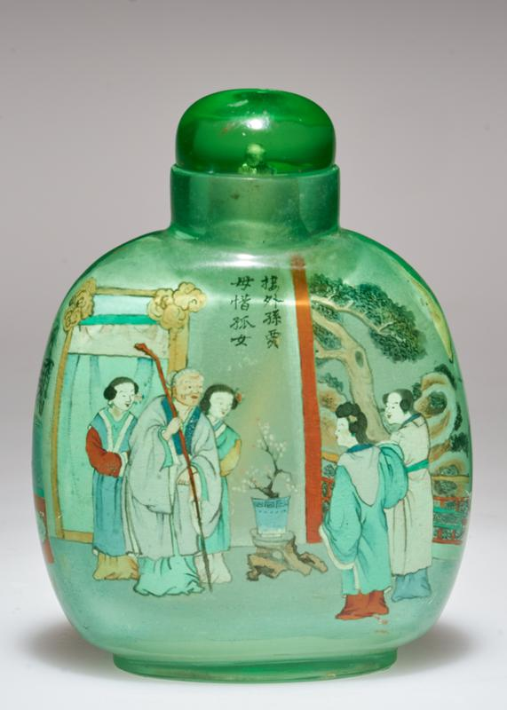 green glass top; hand-painted inside