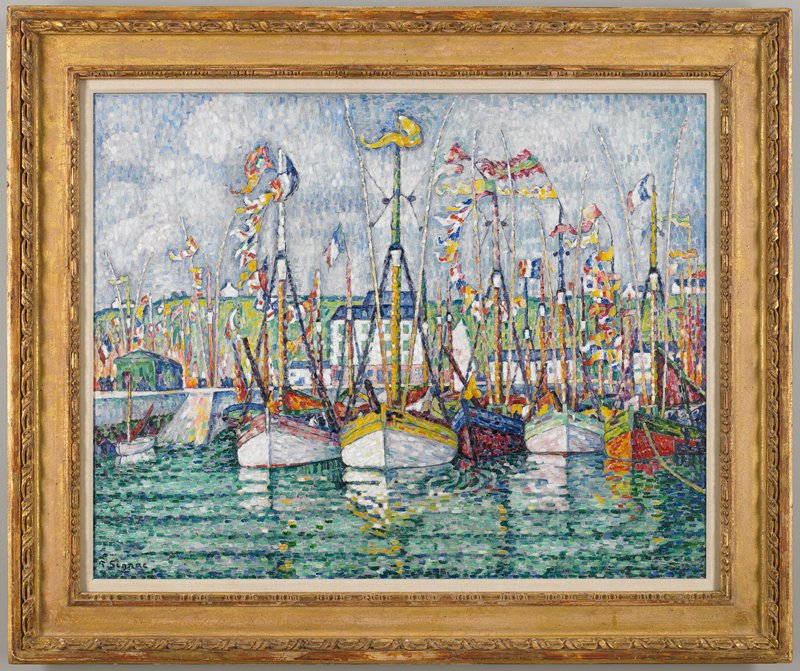 Harbor. Pointillism.