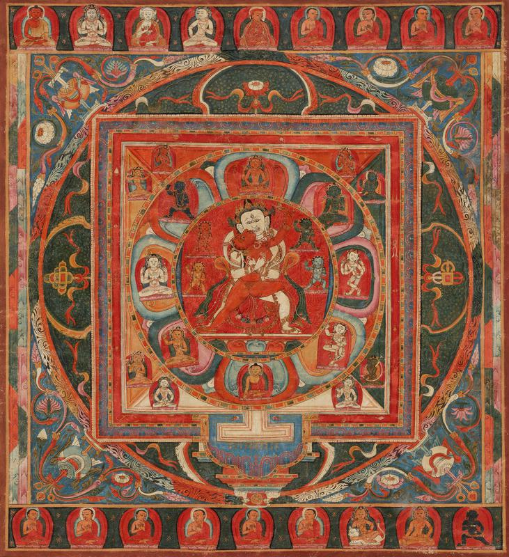 white-skinned male figure and red-skinned female figure embracing in central circle with 20 figures surrounding them inside a circle and a square; 9 seated figures at top and bottom edge; multicolored pigments; leather hanging cord