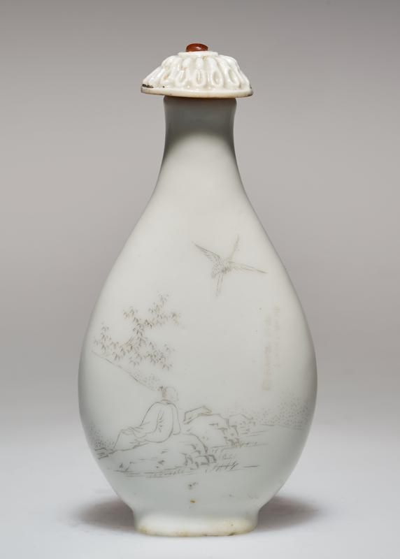 Snuff bottle, white porcelain, decorated with incised poem. White porcelain stopper and carved teakwood stand.