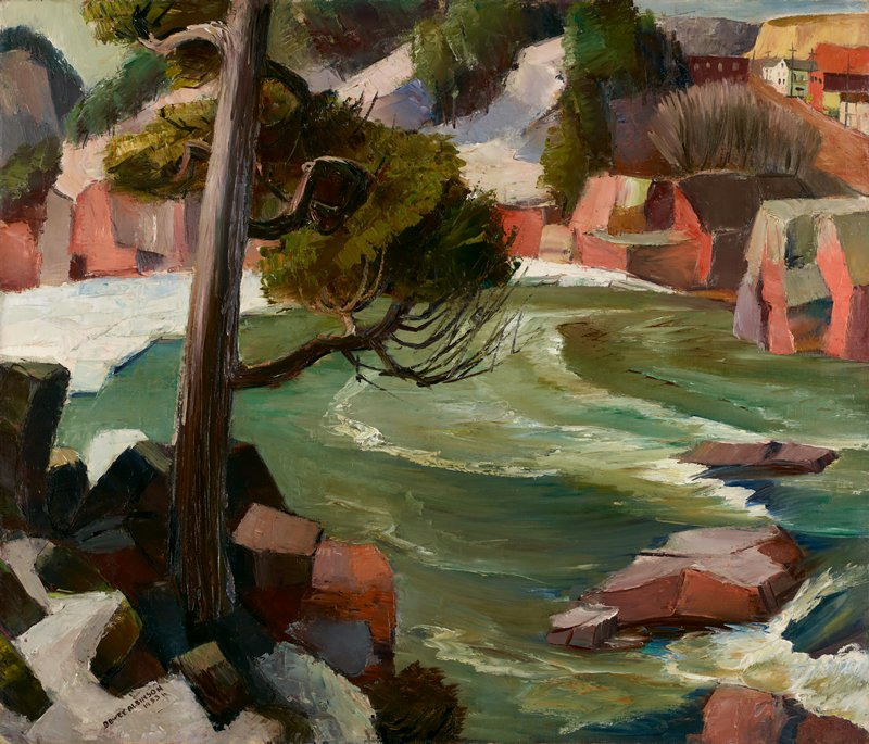Landscape. Tree and rushing waters in the foreground, road and buildings in the distance in the upper right.