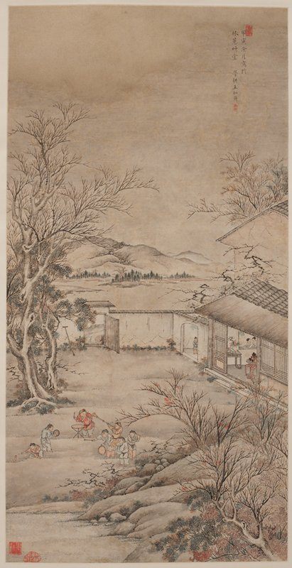 seven figures in LLQ blowing horns, playing gongs, cymbals and drums and lighting firecrackers; 3 figures inside a building at R; bare trees and grey sky; wood rollers