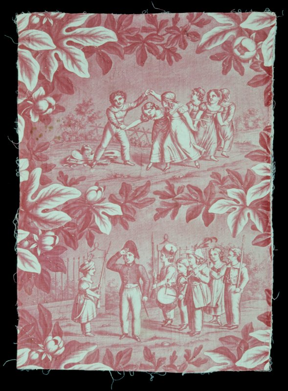 Toile, fregment, printed in rose with scenes of children at play, sepereated by large leafy branches. Backed with cotton, lined with cotton batten, and quilted in lozenge design.