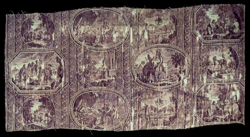 Toile, fragmen, Fables of La Fontaine design. Copper plate printing in mauve. The various fables are enclosed in oval, round and rectangular medalions with the title of each at the bottom of eact medallion. See object file for detailed information on the fables.