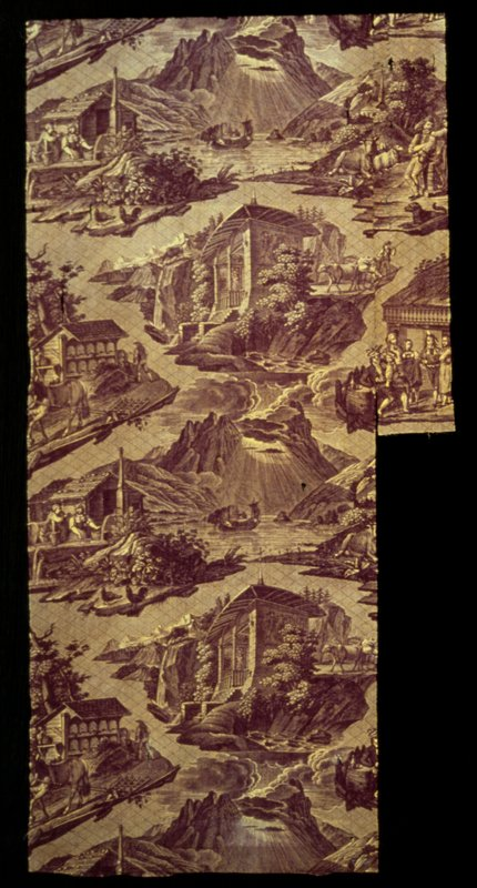 Toile, strip of, printed in puce and yellow with paysage Suisse design.