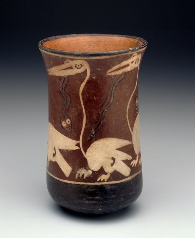 Beaker with painted frieze of long-necked white birds and snakes. Rounded bottom, stand.