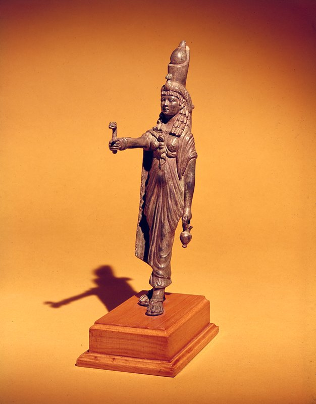 bronze hollow cast in the lost wax process, representing the goddess Isis in a striding attitude