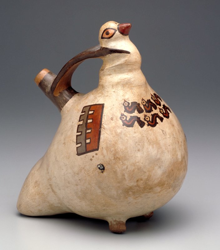 Bird-shaped whistle-vase with a single upright spout emerging from the back and connected by a handle with the head. The eyes of the bird are painted, but the beak is modelled. Across the breast a double row of worms painted in polychrome. Highly conventionalized wings painted on each side. Tiahuanico influence.