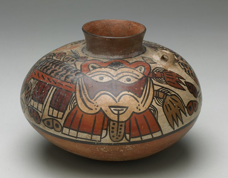 Large vase with shallow flared neck painted in polychrome, with two stylized pumas. Rigid ring handles on shoulders, one of the two missing.