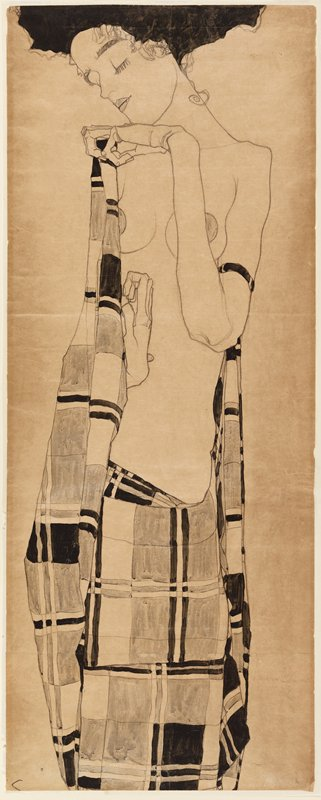 standing female figure who has fabric around waist that she is holding up and partially covers one breast; fabric has geometric pattern